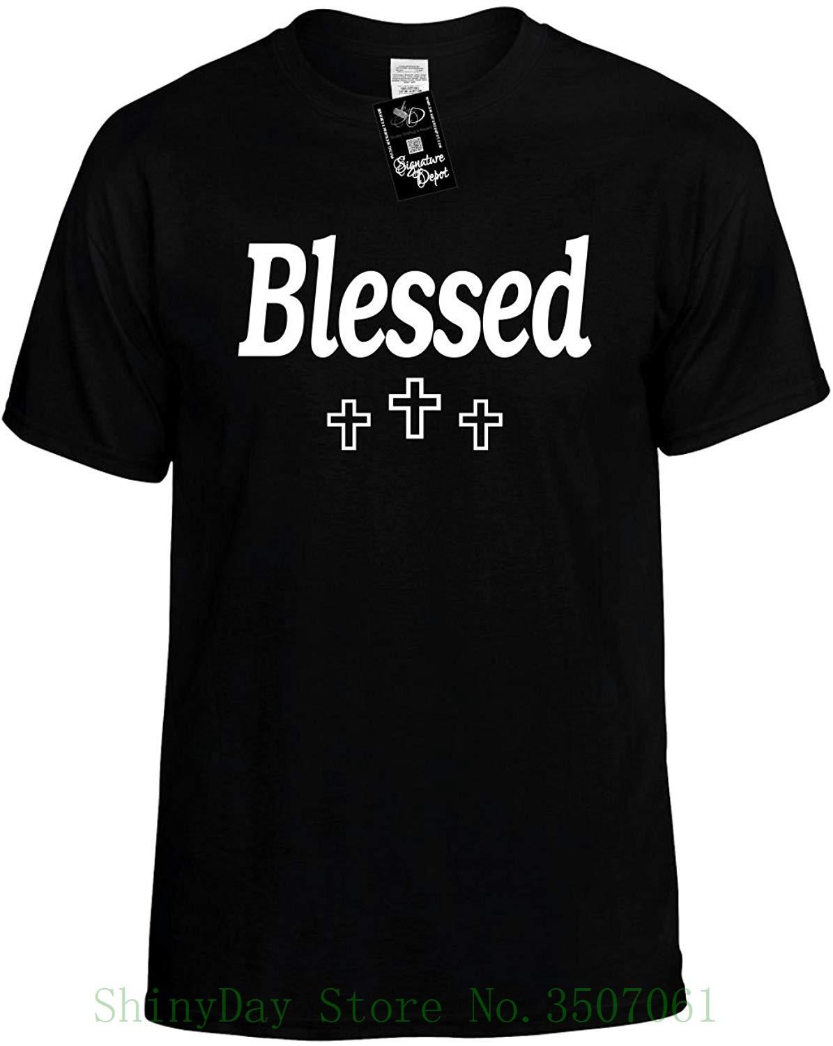 381d5b28 Mens Funny T Shirt Blessed With Three Crosses God Unisex Tee Adult 100%  Cotton Customized Tees Retro T Shirt Design Tee Shirts From Shinydaystore,  ...