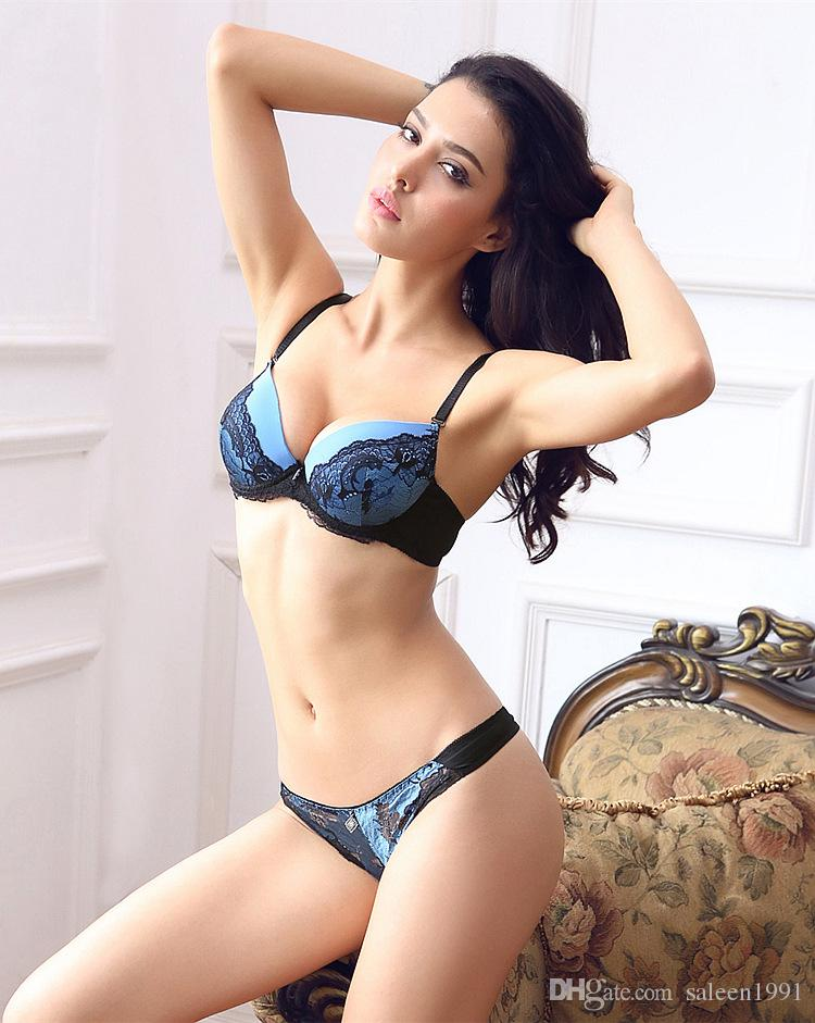 a22cad36d9 2018 French Lace Women Push Up Bra Sets Hollow out Thongs Bra Brief ...