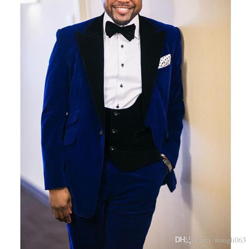 Royal Blue Velvet Hommes D'affaires Costumes 2018 Blazer Noir Tailleur Revers Mariage Marié Tuxedos Custom Made Veste + Pantalon + Gilet