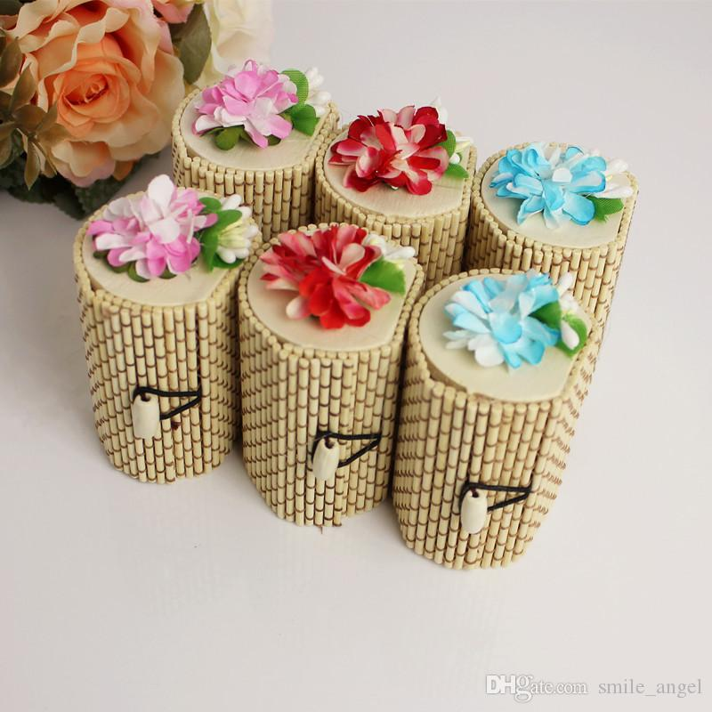 New Wedding Favors Boxes High End Bamboo Candy Box With Flower Sweet