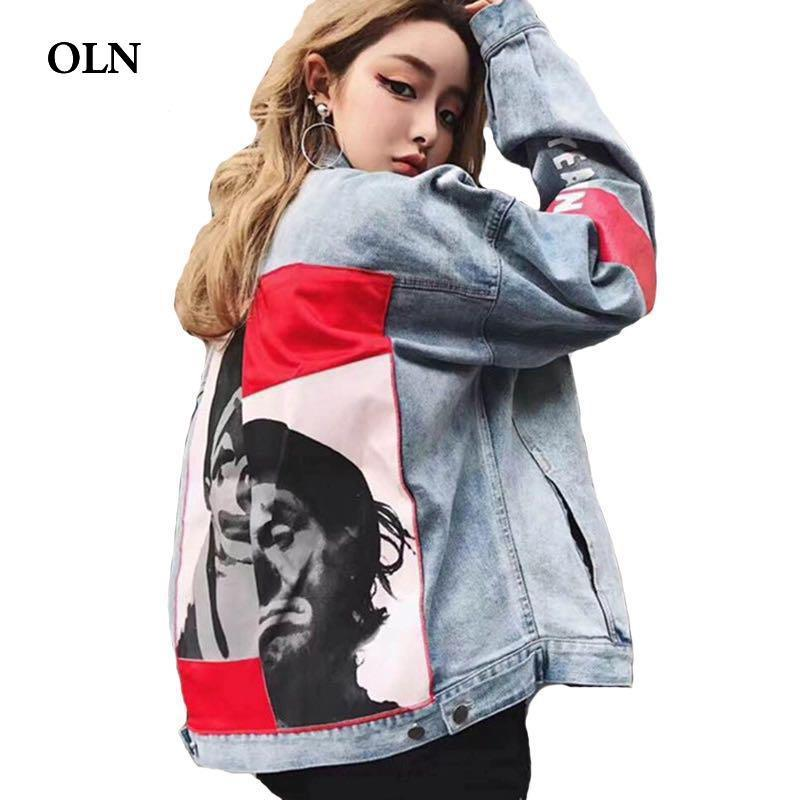bc2b35aab1d84 Autumn Denim Jacket Women And Men Oversize Printed Jeans Jackets For Female  Lovers Cowboy Printing Coats Hip Hop Bomber Jacket Womens Leather Bomber  Jacket ...