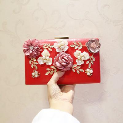 Suihyung Women Handbags Pearls Flowers Clutch Bag PU Leather Purse Ladies Party Evening Bags Female Wedding Beaded Diamond Cluth
