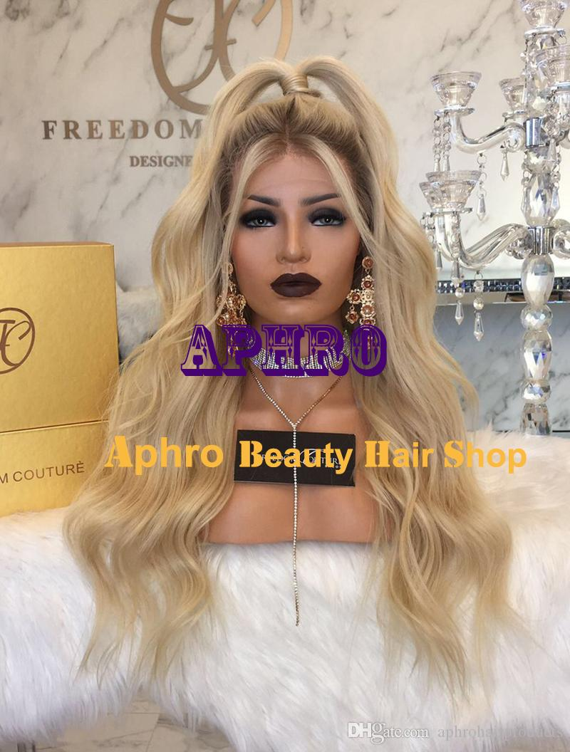 "Luxury European Hair Silk Top Glueless Dark Roots Platinum Blonde Full Lace Wigs 4.5""x4.5"" Silk 20""-30"" 180% Density Body Wave Blonde Wigs"