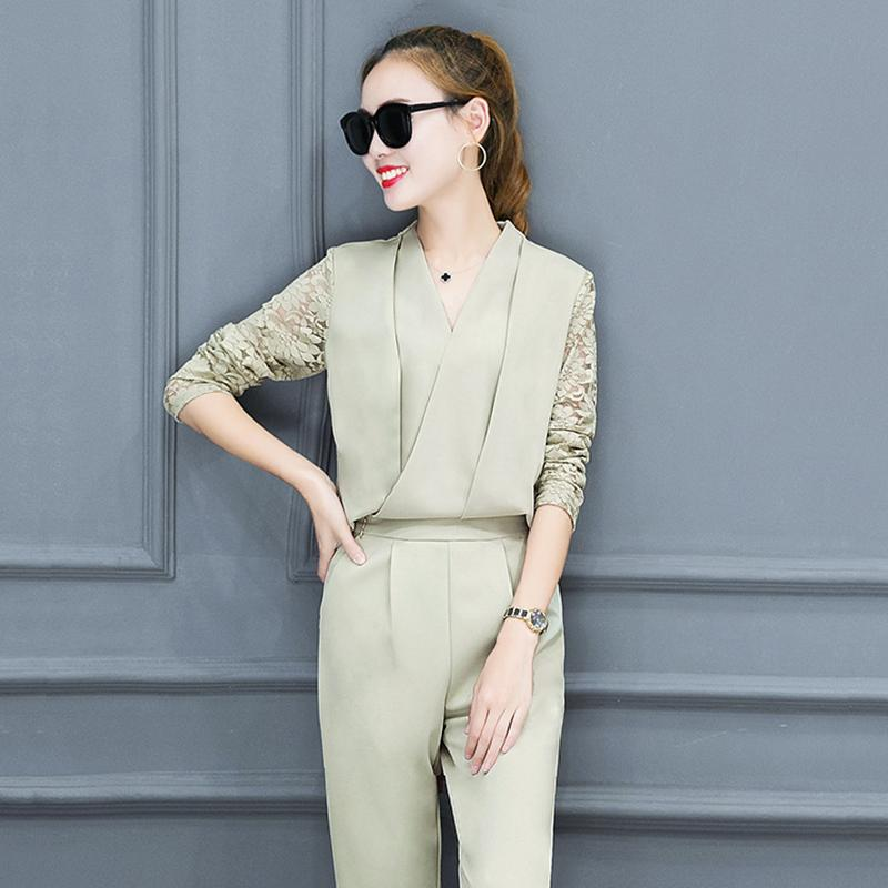 6717e06fa33 AmberHeard 2018 Spring Autumn Women Office Suit Fashion Sexy V-neck Lace Top+Pants  Two Piece Set Tracksuit Outfit Women Clothing
