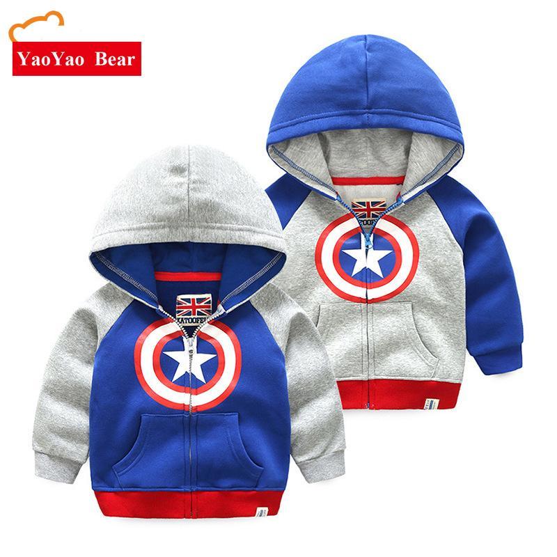 Acquista America Captain Shield Ragazzi Top Abbigliamento Bambini Felpe Con  Cappuccio Giacca A Maniche Lunghe   Cappotto Autunno Abbigliamento Bambini  ... ccac0bbc376d