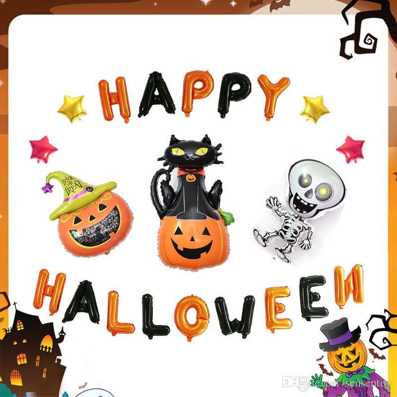 Compre Globos De La Hoja De Dibujos Animados De Halloween Caliente ...