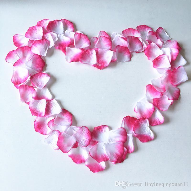 es 100 unids / pack rojo blanco pétalos de rosa decoración de la boda flores artificiales de seda decoración de flores decorativas flores y guirnaldas