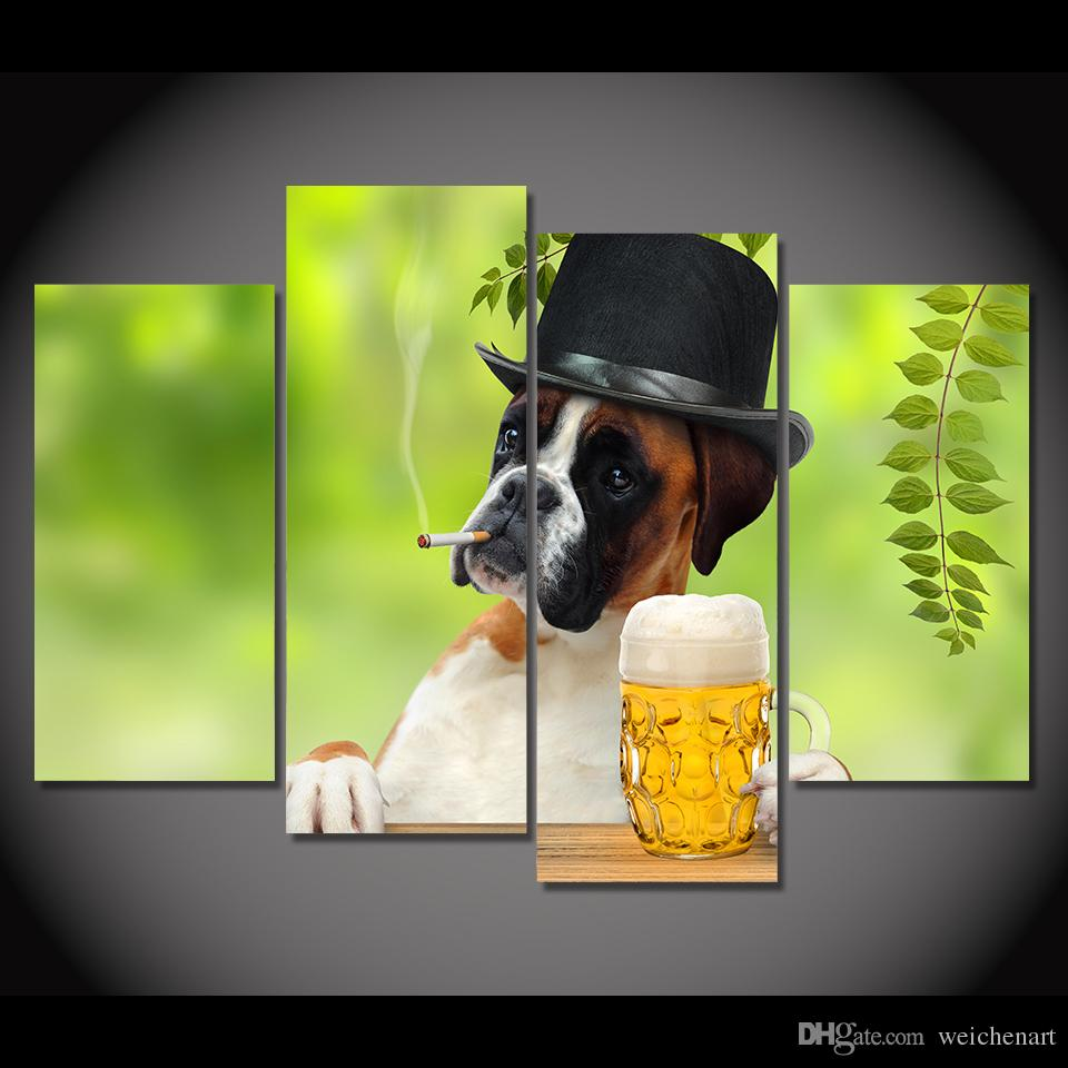 4 Panel Canvas Art Canvas Painting Funny Dog Smoking Drinking HD Printed Wall Poster Home Decor Picture for Living Room XA074D