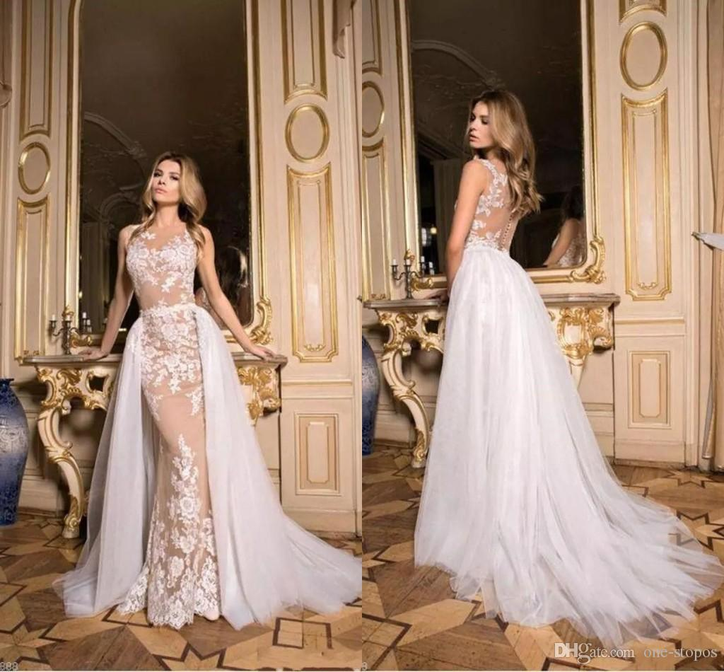 5d80d2ed84a Vintage Lace Wedding Dresses Illusion Jewel Neck Sleeveless Open Back  Mermaid Wedding Gowns Detachable Train Bridal Dresses Cheap Designer Wedding  Dresses ...