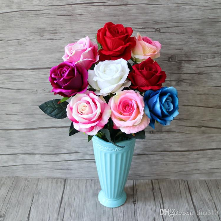 Decoración caliente Rose Artificial Flowers Seda Floral Latex Real Touch Rose Wedding Bouquet Home Party Design Flores IB733