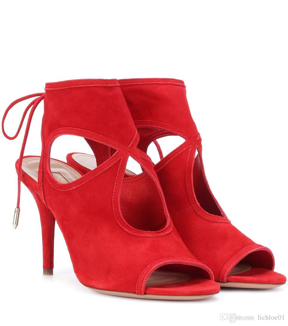 9ac7c9d0363c Sexy Thing 85 Red Suede Sandals Ladies Footwear Fashion Shoes From  Lichloe01