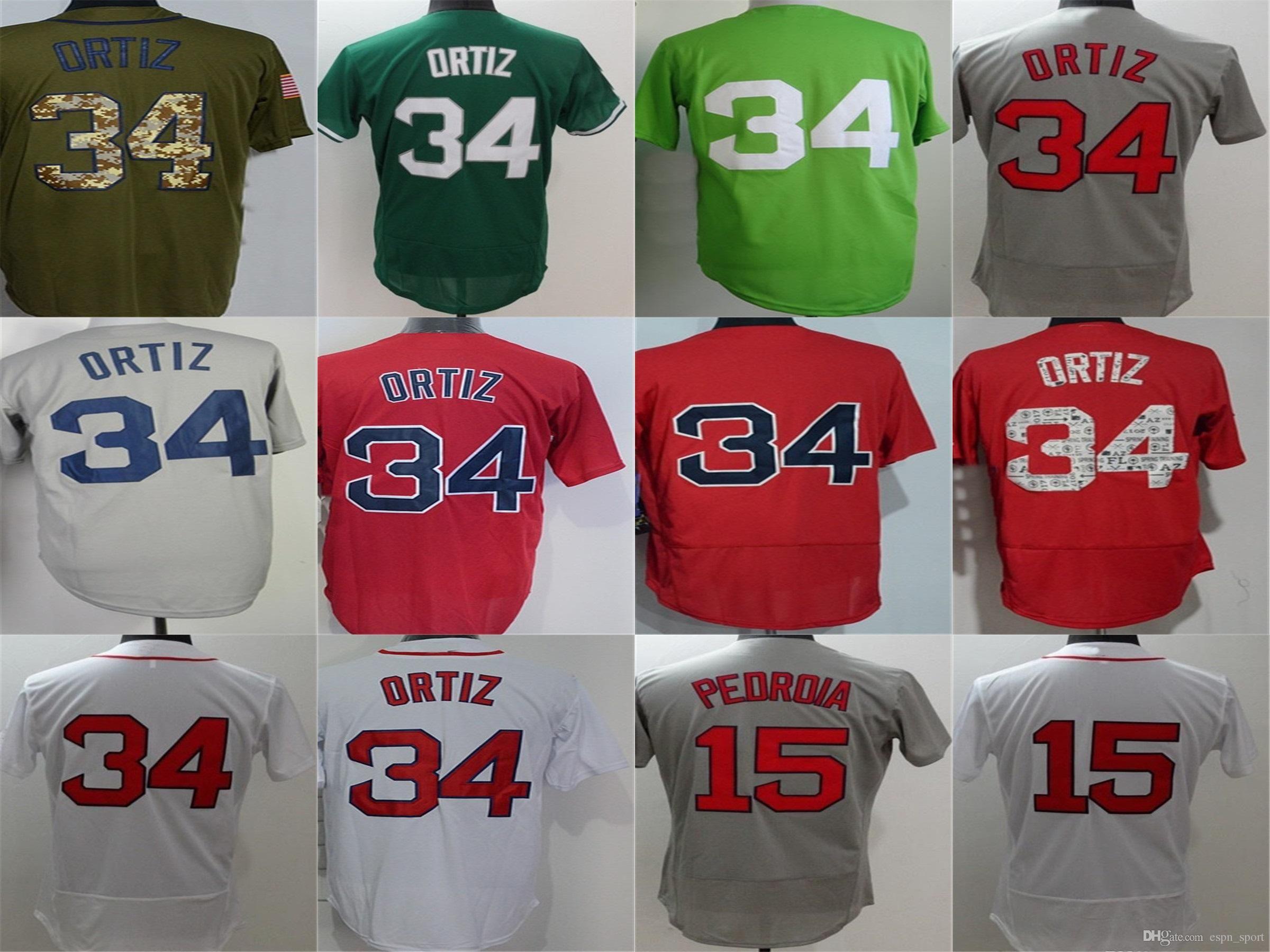 aa1bdf76f Cheap Boston Mens Jersey 15 Dustin Pedroia 34 David Ortiz Grey White ...