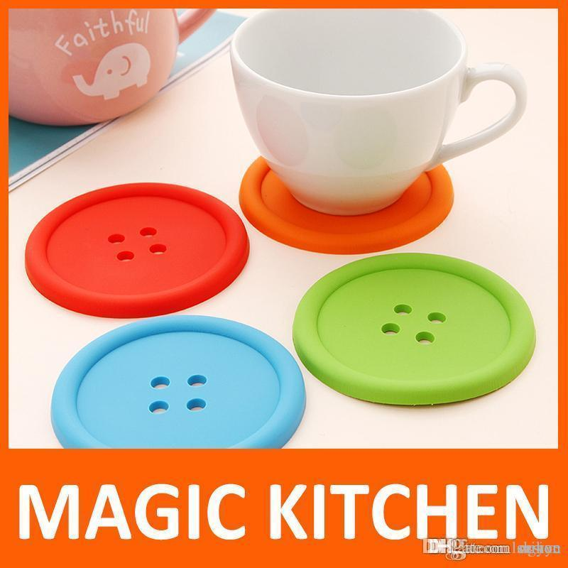 Wholesale-Magic Kitchen 10 pcs/lot set Cute Silicone Round Button Coaster Cup Mats Home Table Decor Coffee Drink Placemat Free shipping