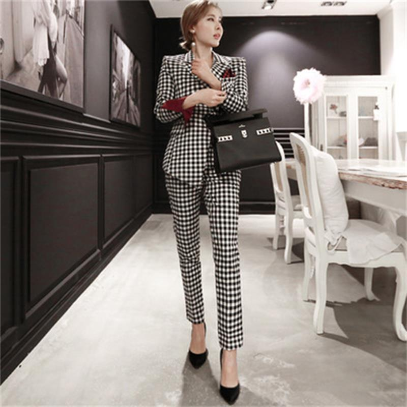 3a09e9a006a10 Women s 2018 autumn and winter new Korean ladies fashion small suit suit  was thin Plaid jacket female spring trend Ms