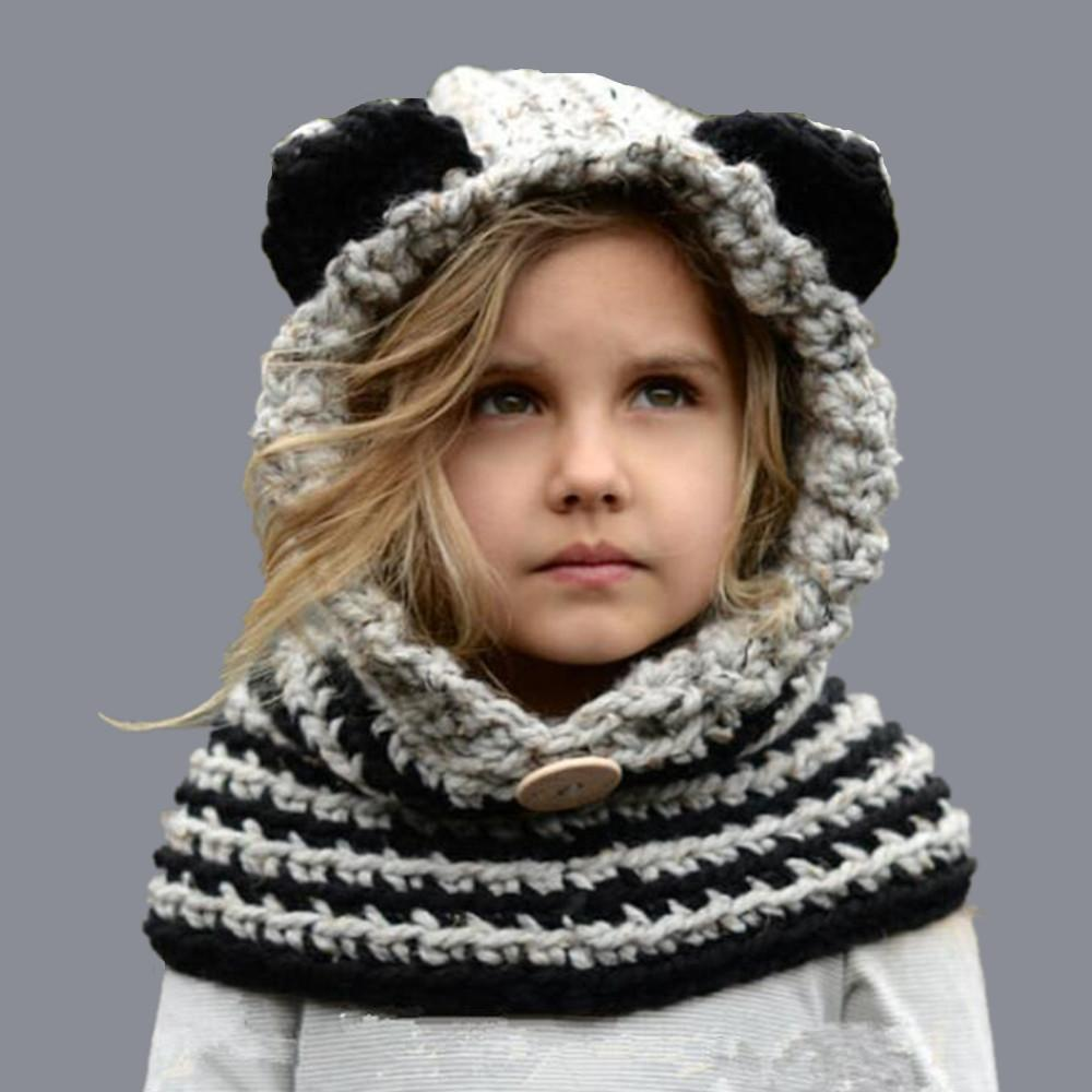 f75c13da1a9 2019 8 Style 1 7 Y Baby Girls Balaclava Winter Hats Handmade Kids Hats Wrap  Fox Scarf Caps Cute Autumn Children Wool Knitted From Simmer