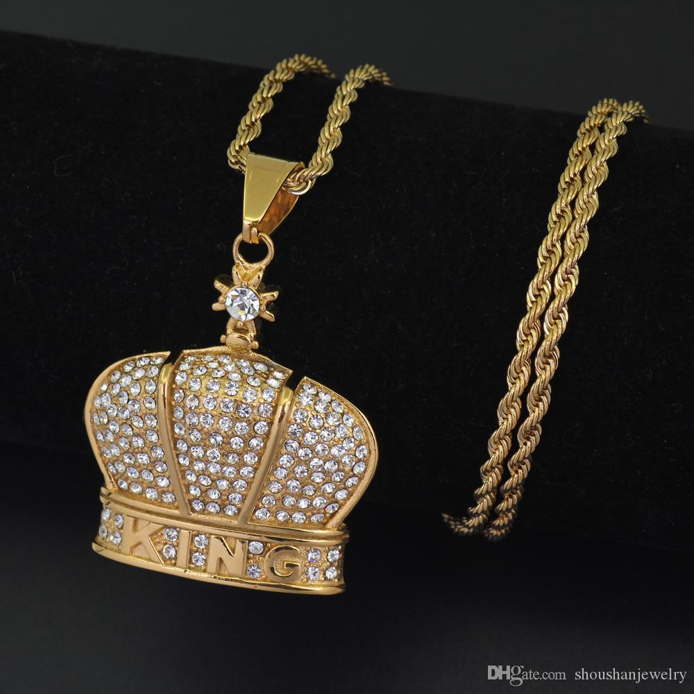 Stainless Steel Jewelry Hip Hop KING Crown Pendant Necklace 24inch rope chain SN102