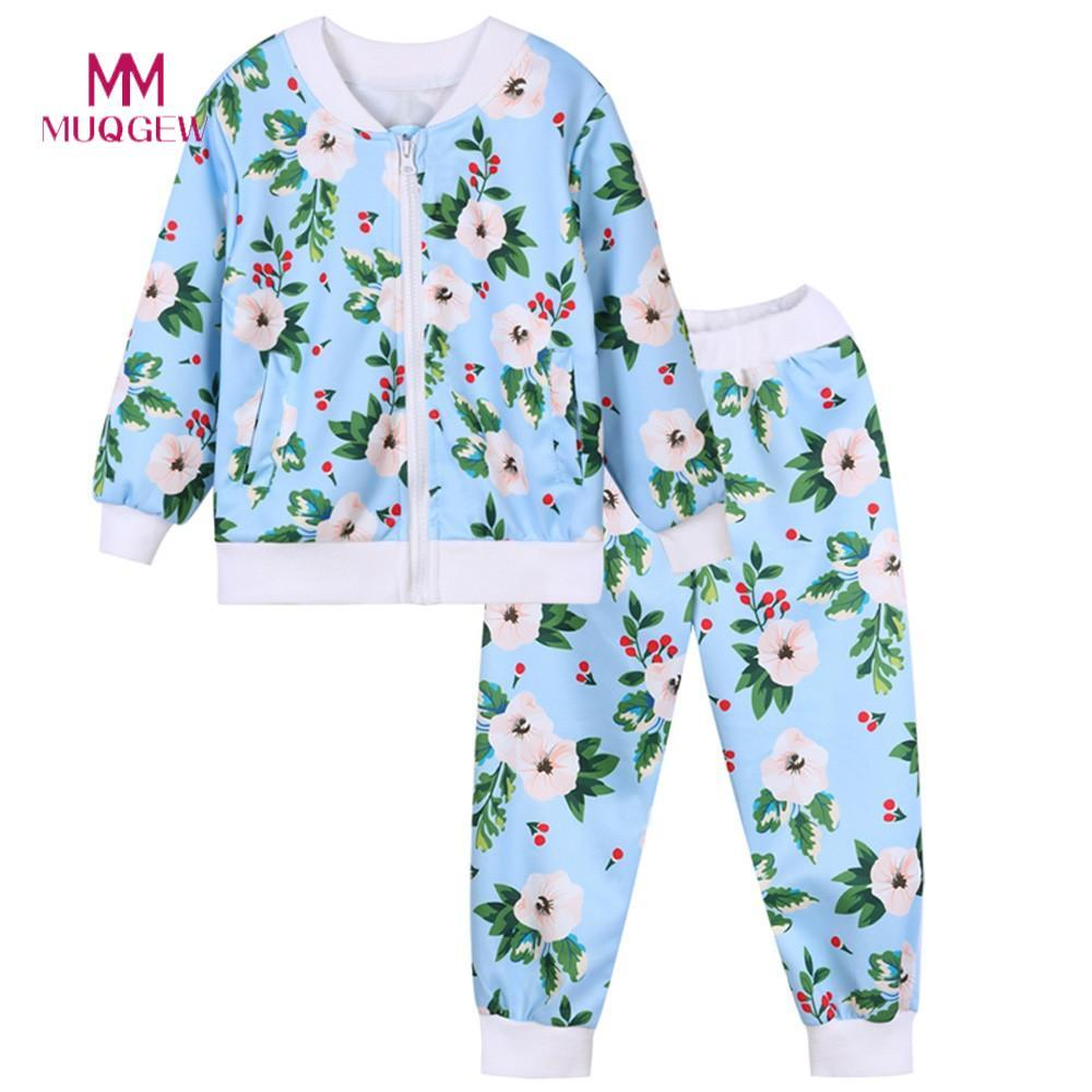 46c763507c3b1 2019 MUQGEW Hot Sale Children Clothing Set Long Sleeve O Neck Cotton Floral  Print Zipper Tops Coat Long Pants Baby Clothes Winter From Jeanyme