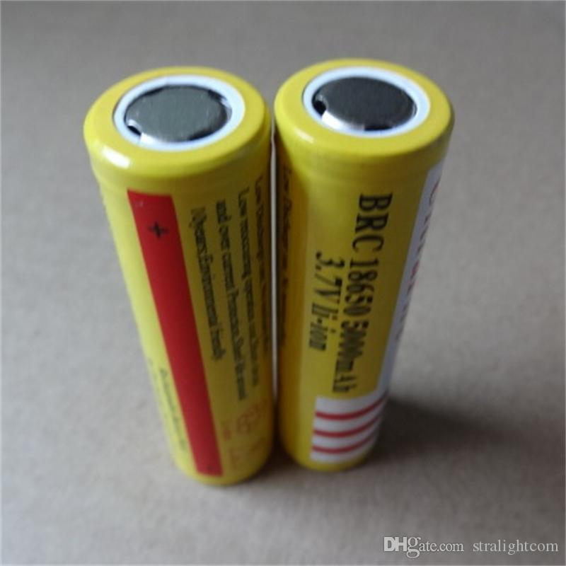 Yellow UltreFire flat-head battery 18650 5000mAh 3.7V Rechargeable f lithium battery