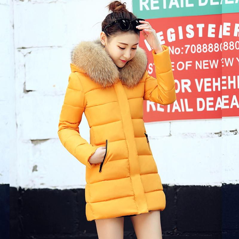 91a29cae1347b 2019 Women Winter Jacket Plus Size 2017 Yellow Womens Jacket Thick Fur  Hooded Long Down Cotton Padded Female Coat Parka From Ladylbdcloth