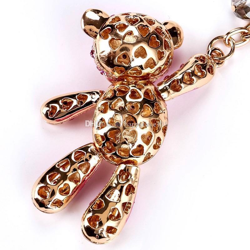 Bear Bells Crystal Rhinestone Keyring Key Holder Purse Bag For Car Fashion christmas Cute Gift Keychains For Women Jewelry 2017