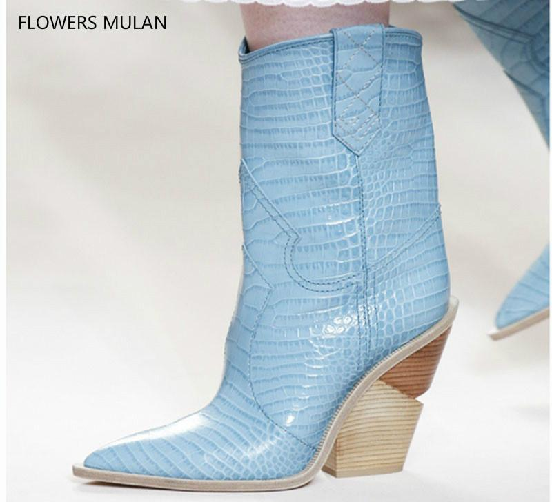2bd9e22ec8583 Light Blue Genuine Leather Women 2018 Pointed Toe Western Boots Cowboy Boots  Women Mid Calf Chunky Wedges Boots Runway35 42 Chelsea Boots Women Monkey  Boots ...