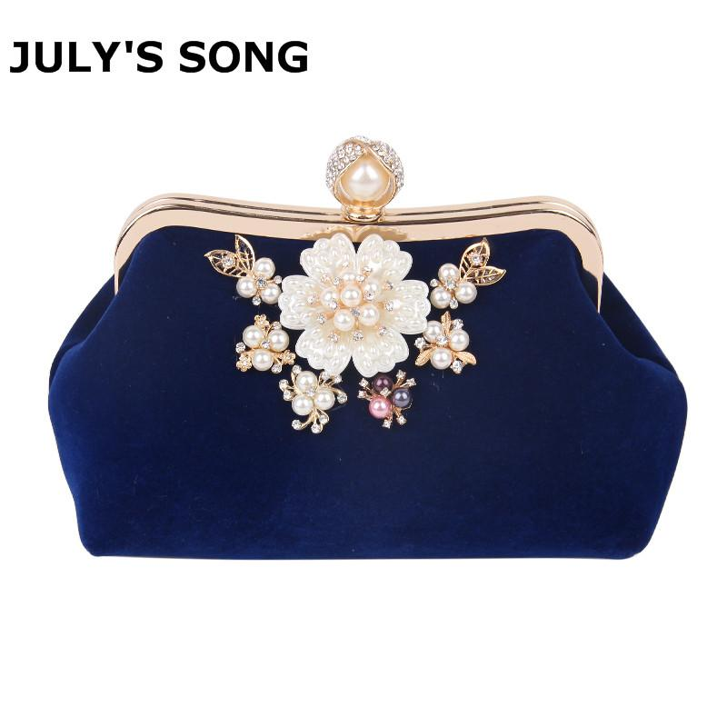 5371843a75a Lady Fashion Flowers Pearl Design Evening Clutch Bags Women Crystal ...