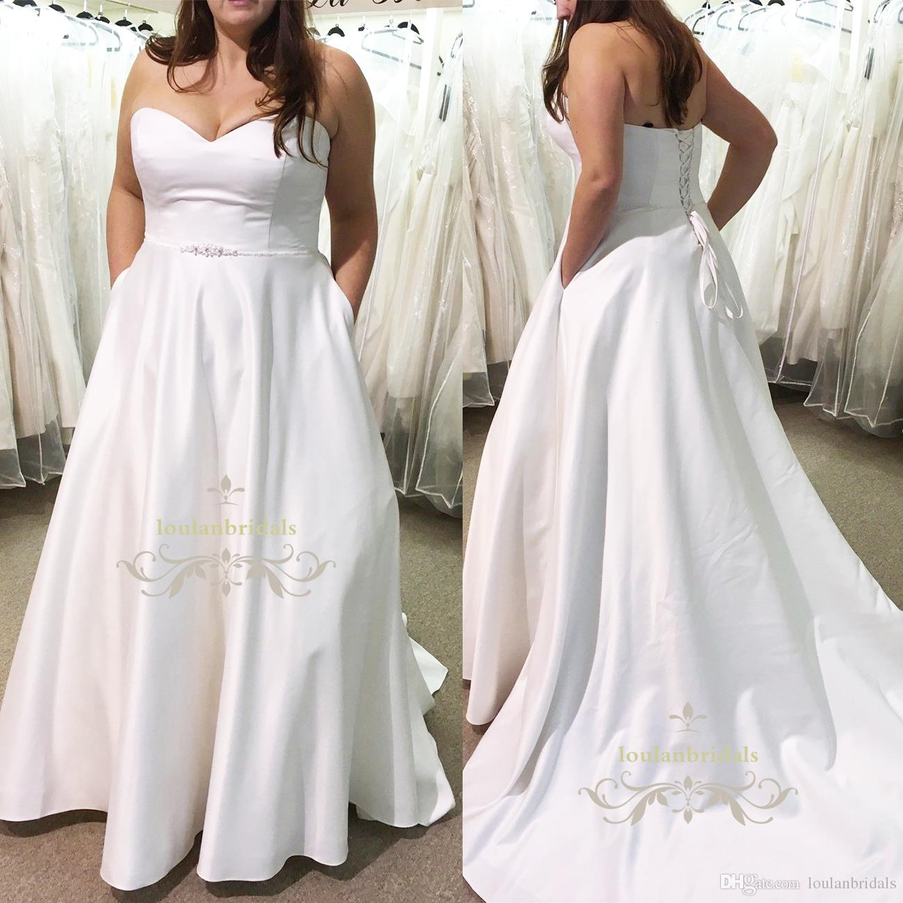 Discount Sweetheart A Line Wedding Dress With Pockets Extremely