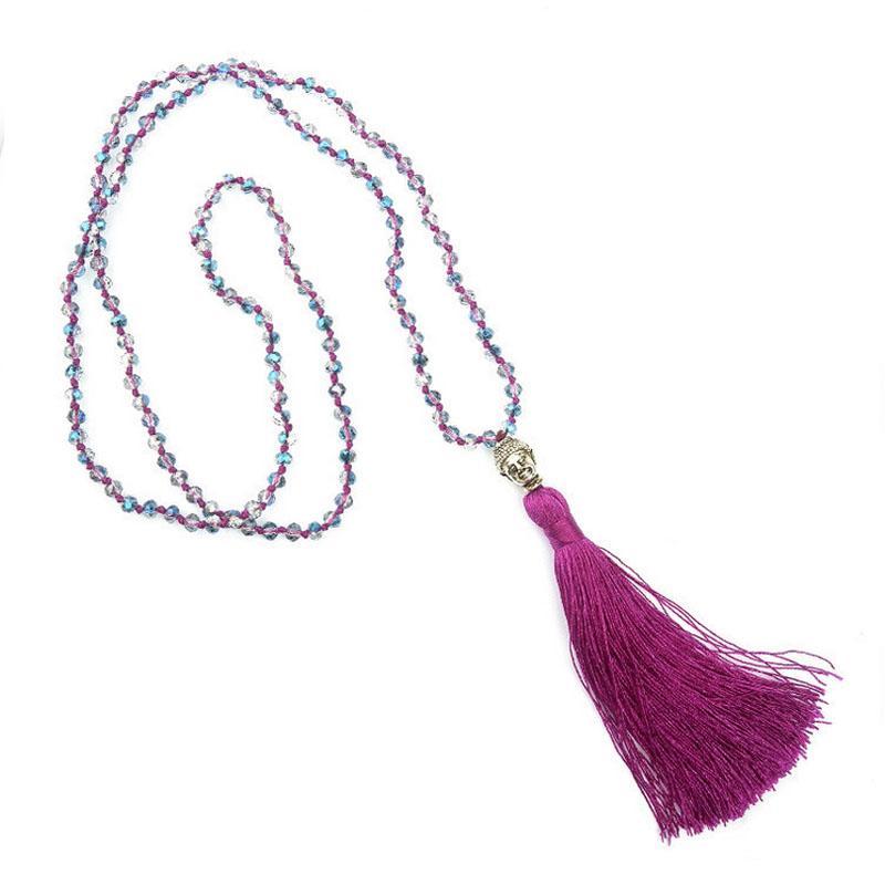 2019 ankunft Lange Quaste Neon Halskette Alte Silberlegierung Buddha Kopf Anhänger Facettiertes Glas Kristall Knoten Frauen Schmuck Geschenke