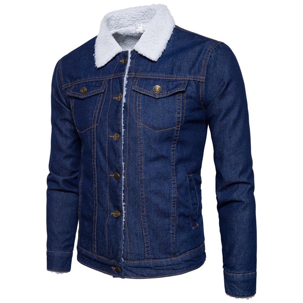 97759b457efa2 Acheter Veste En Jean Homme Cow Boy Agneau Bleu Doublure En Cachemire  Épaississement Veste D'hiver Hommes Chauds Classiques Vestes En Jean Manteau  ...