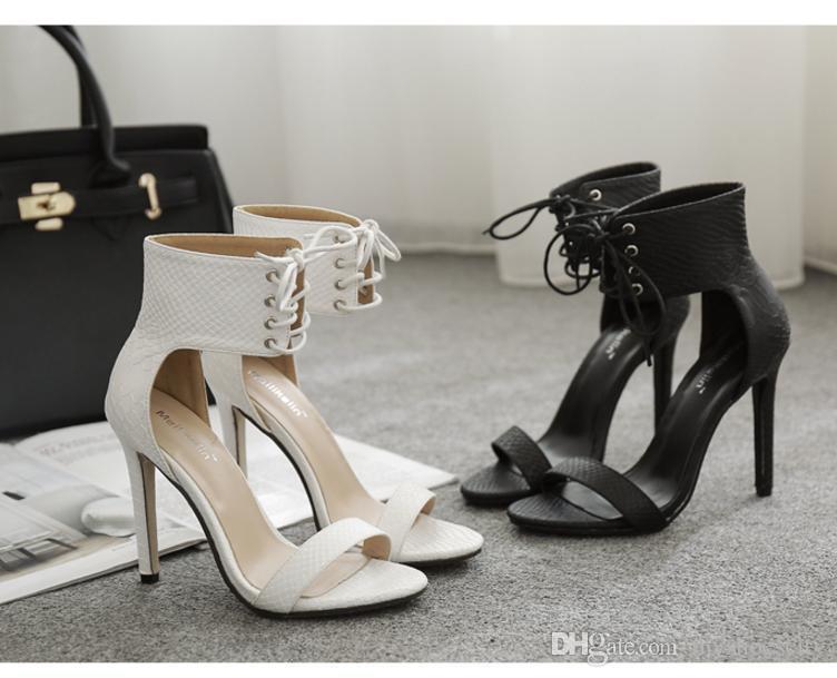 Trendy dantel kadar açık ağızlı yüksek topuklu ayak bileği kayışı beyaz siyah ayakkabılar PU deri 2018 yeni boyutu 35 40 için