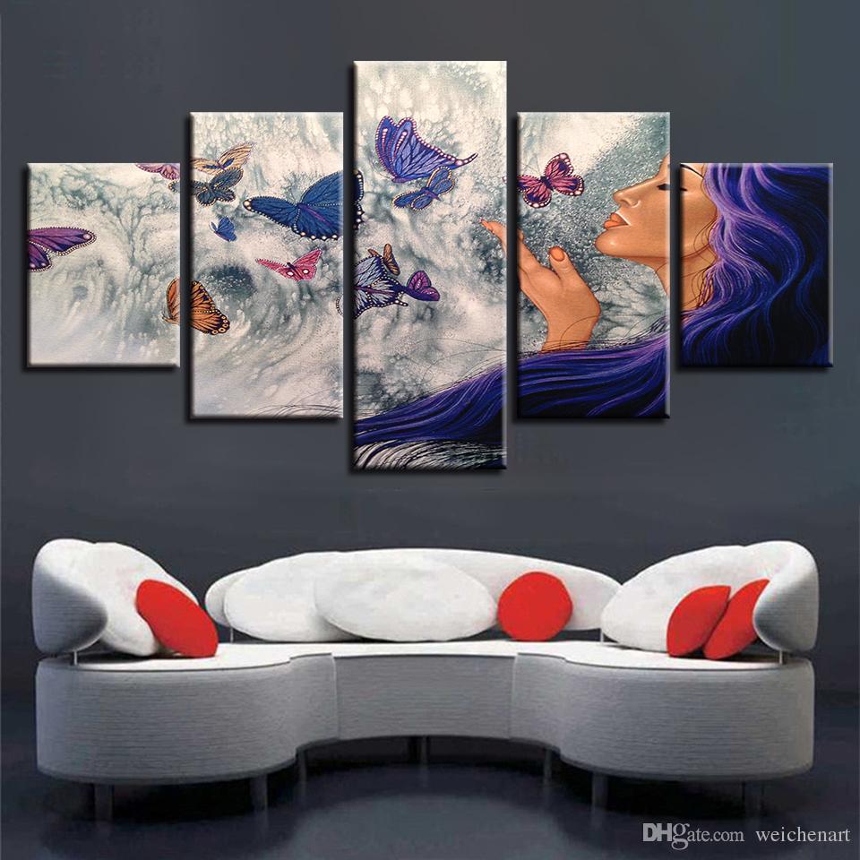 Modulaire Photos Toile Art 5 Pièces Femme Et Papillon HD Imprime Affiche Cadre Décor Moderne Salon Mur Abstrait Peintures
