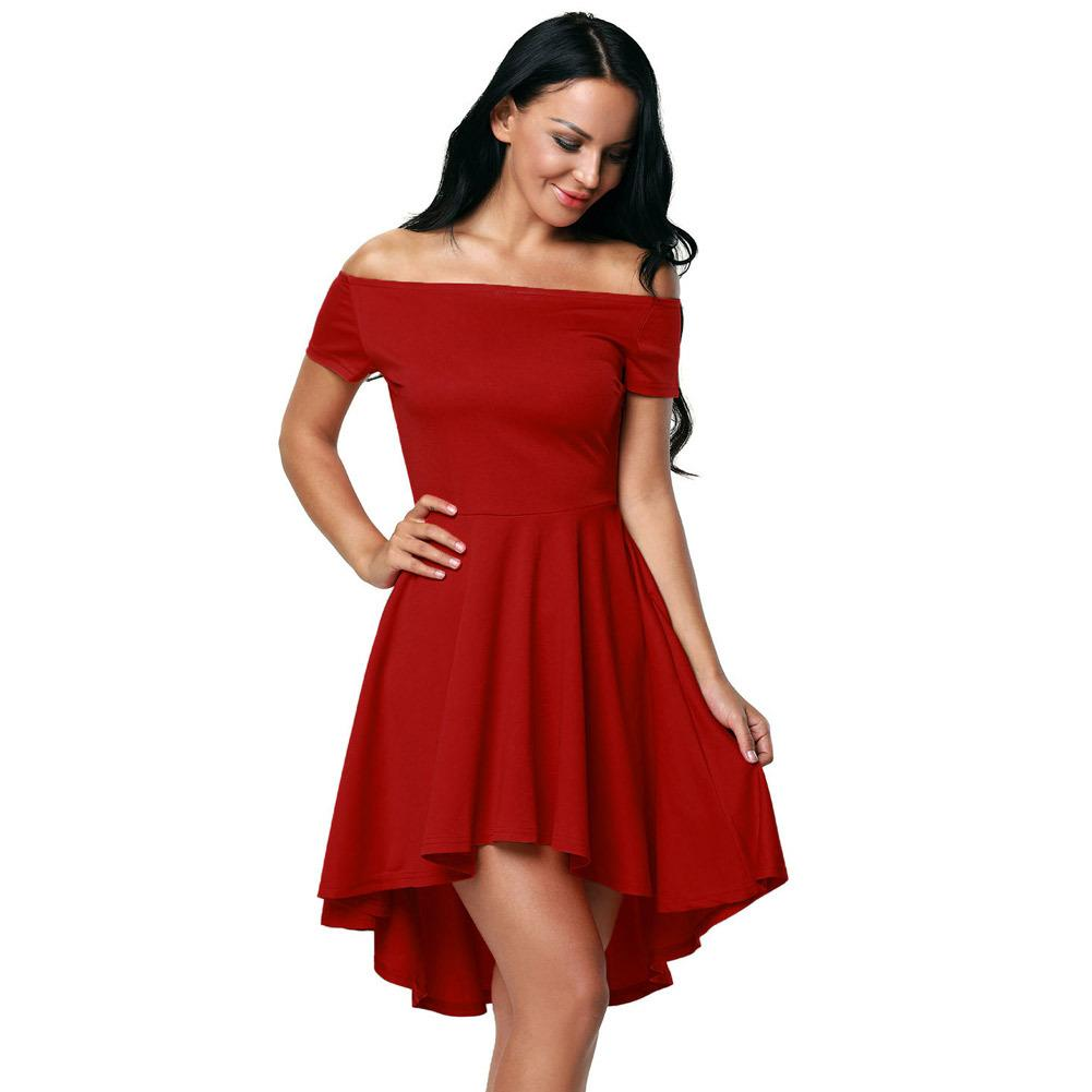 ccc67f017d 2019 Elegant Women 2018 For Party Dresses Sexy Off Shoulder Burgundy All  The Rage Skater Dress Vestidos De Festa From Xuxiaoniu2