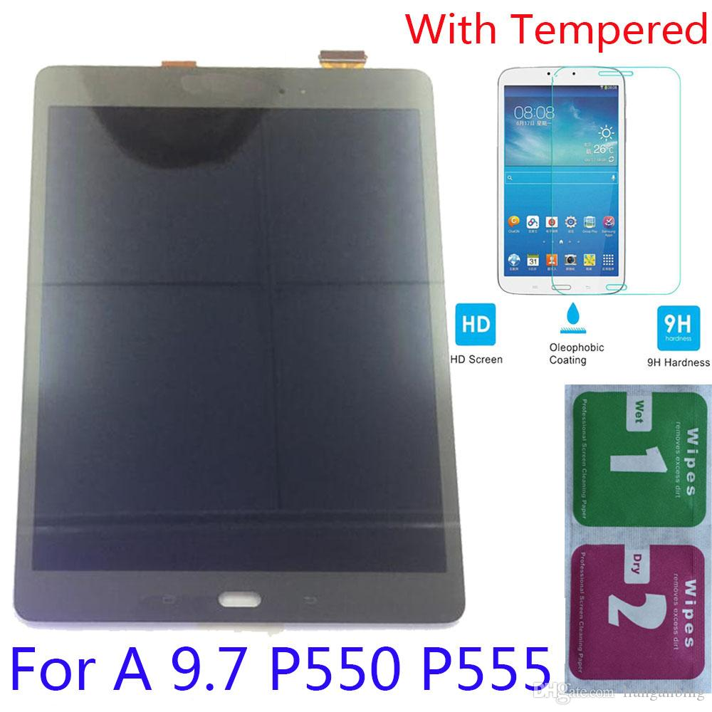 NEW LCD Display Touch Screen Digitizer Replacement For Samsung Galaxy Tab A 9.7 P550 P555 Black White With Tempered Glass DHL logistics