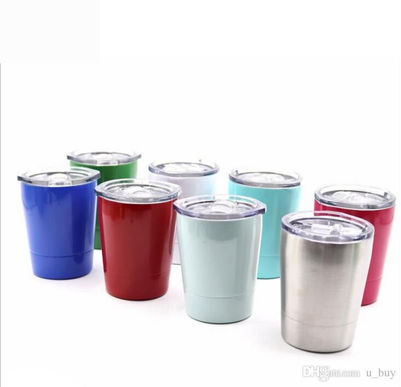 8.5oz Stainless Steel Tumbler Wine Glass Travel Vehicle Beer Mug non-Vacuum mugs