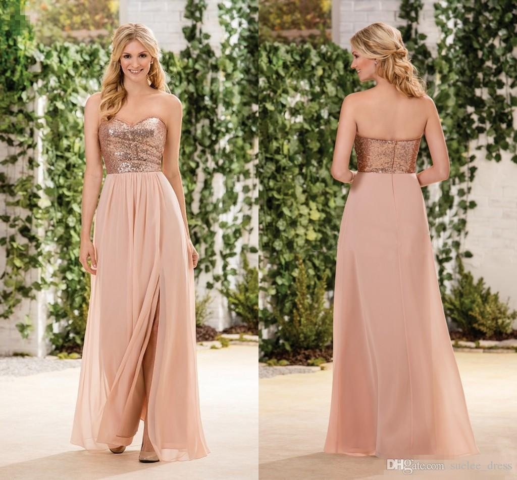 18b4dea9b4a8 Rose Gold Sequins Bridesmaid Dresses Sweetheart Strapless Sexy Side Slit  Chiffon Floor Length Zipper Back Maid Of Honor Gown Plus Size Gold  Bridesmaid Dress ...