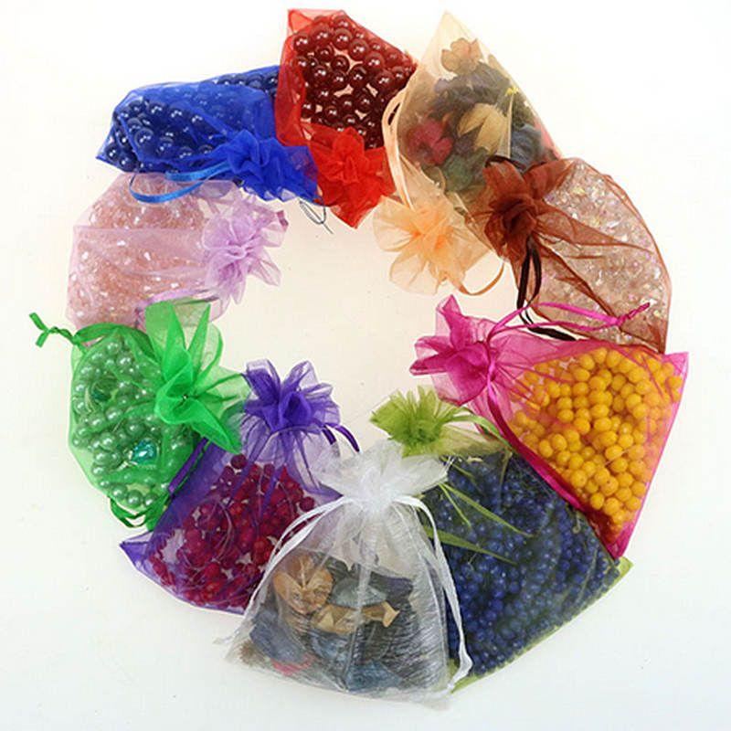 100 قطع أكياس الأورجانزا الحقائب الزفاف حزب الديكور هدية لطيفة 16 ألوان اختيار مجوهرات التعبئة والتغليف حقيبة الشاش