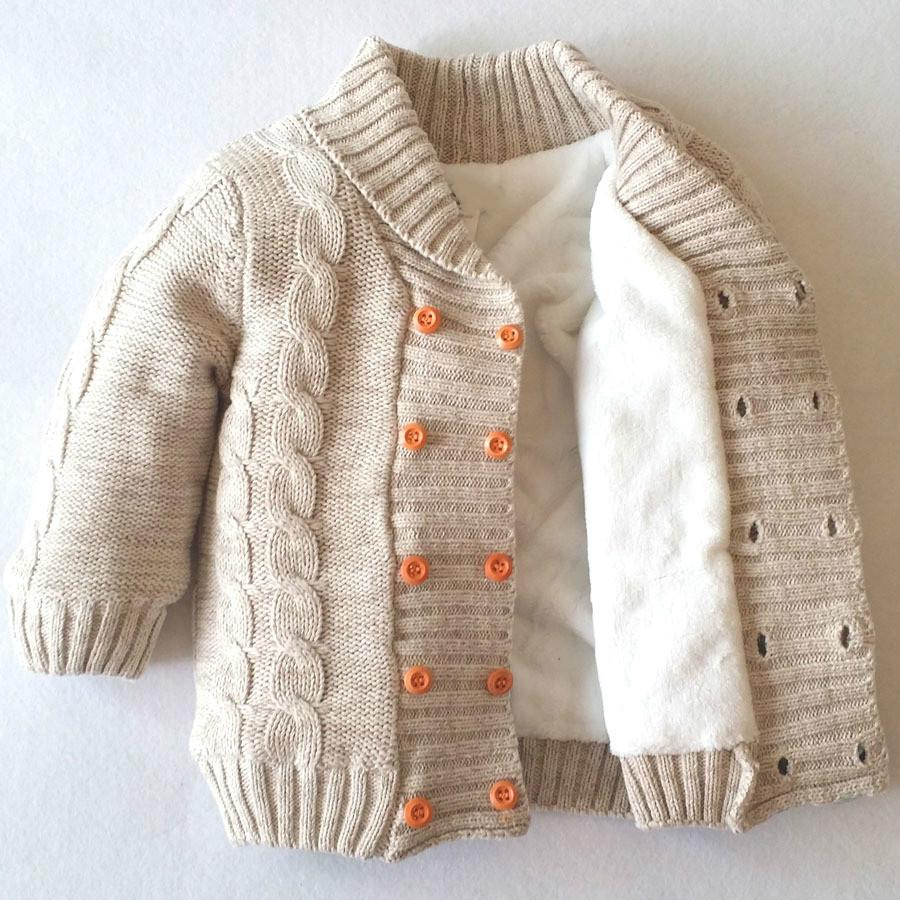 Double Breasted V Neck Full Sleeve Boy Girl Knit Jacket Cotton Baby