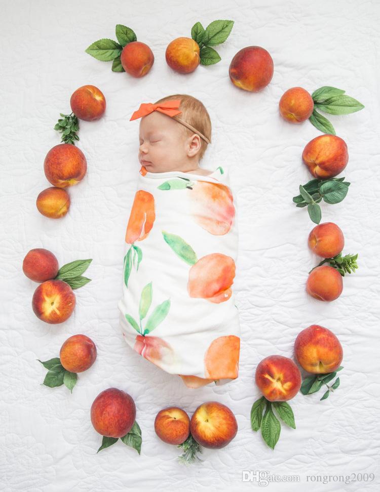 Varejo Bebê recém-nascido Floral Recebendo cobertores com cobertores de algodão com headband fotografia adereços 90 * 90 cm pj008