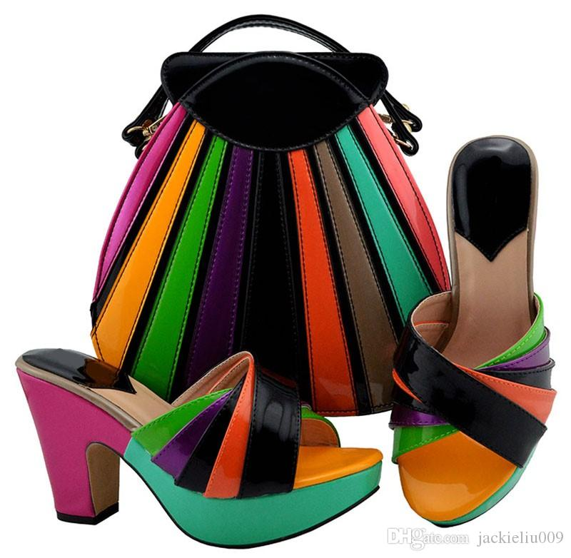 New Fashon Black And Colorful Women Pumps with a Big Bag Set African ... 93d28605e91c