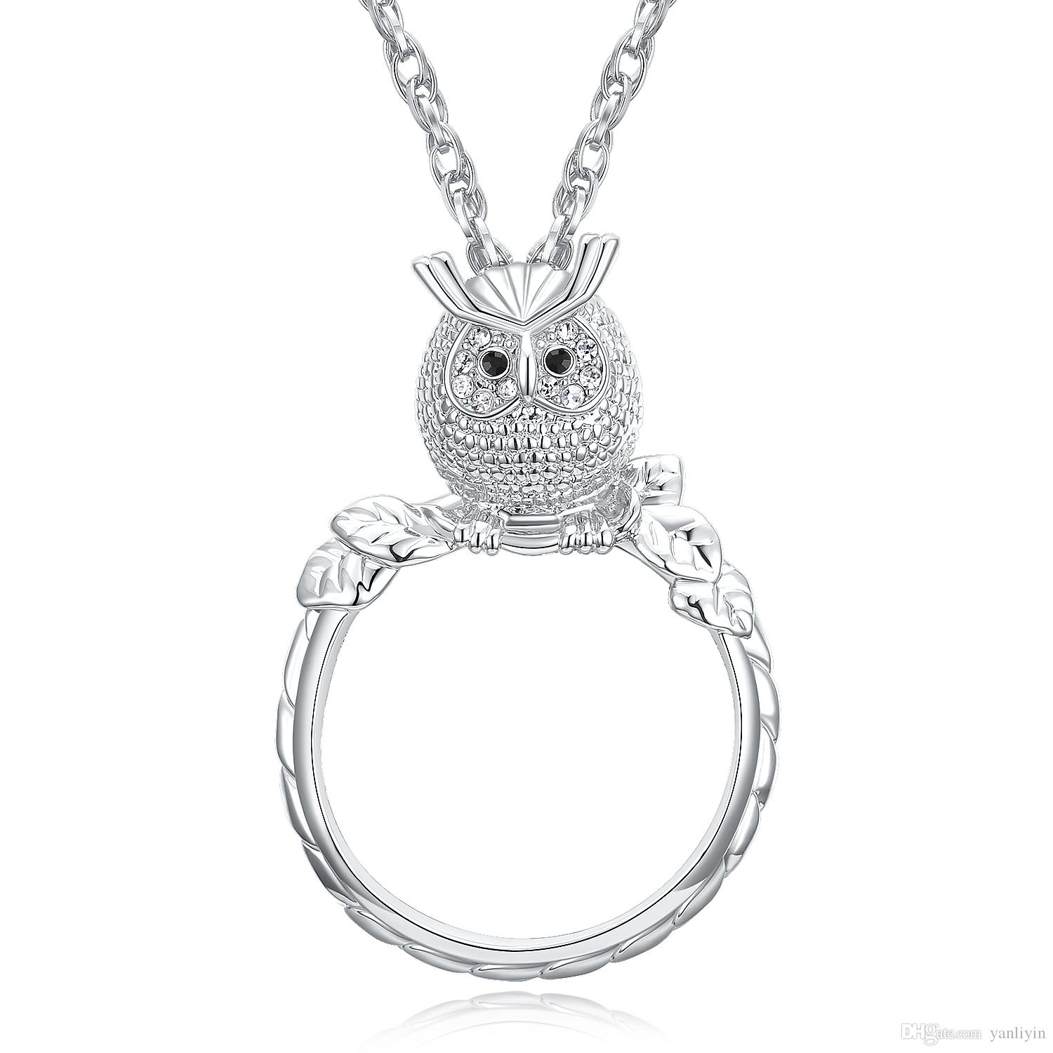black white diamond gold silver pendant champagne and sterling owl ct in jewelry