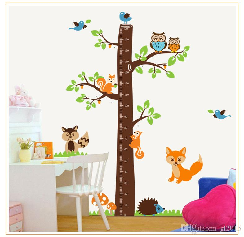90*60CM Squirrel butterfly flower tree growth chart wall art home decorations animal stickers cartoon children wall decals