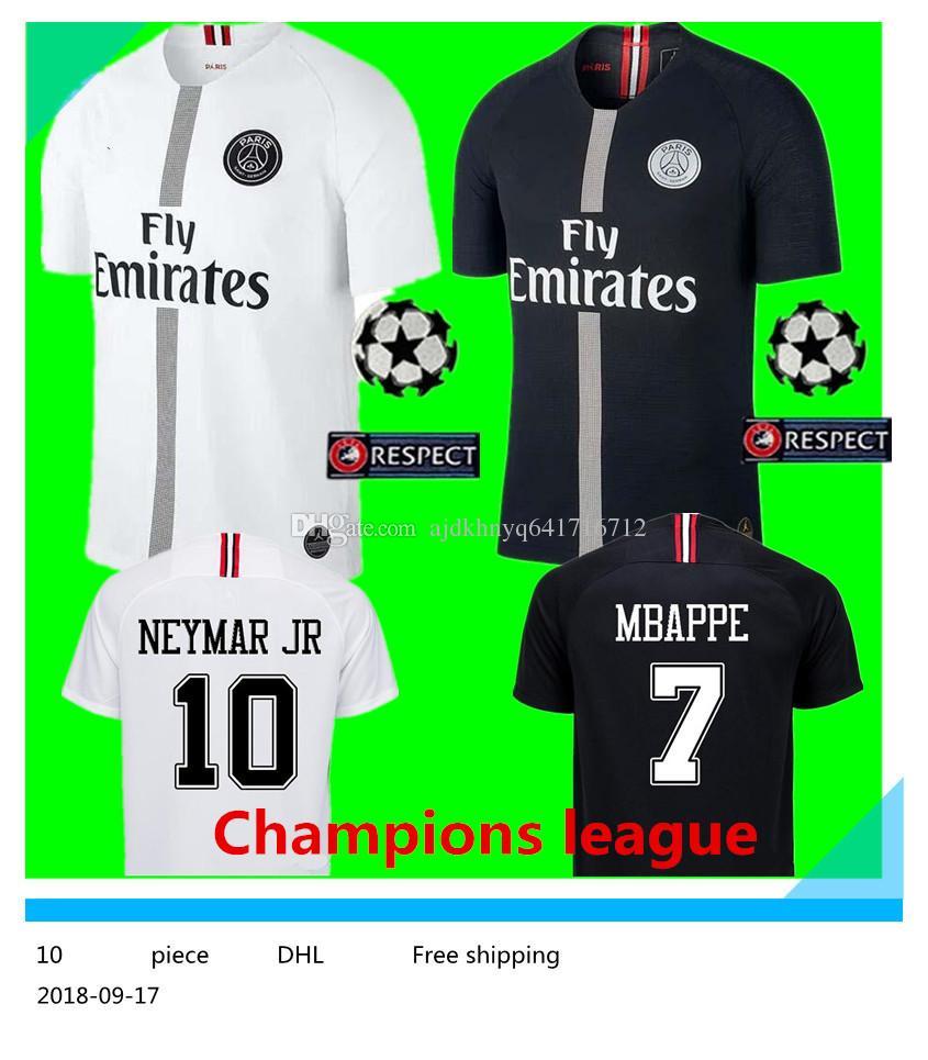 Logotipo Nuevo PSG Liga De Campeones Jersey De Fútbol 18 19   10 NEYMAR JR    7 MBAPPE Camiseta De Fútbol Blanca 2019 Negro PSG Uniforme De Fútbol Con  ... 8cb96d60813