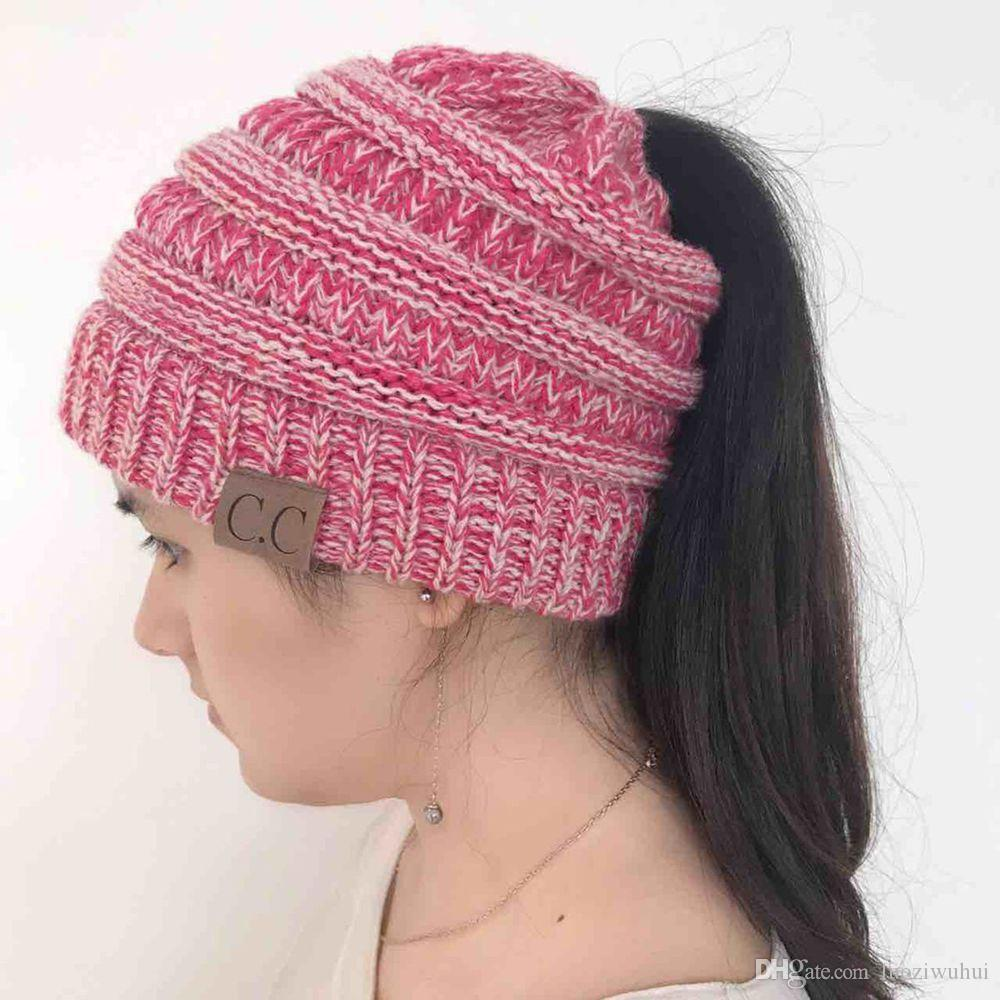 6e1b55922a417 2019 Hot Sale Foreign Trade CC Beanies Hats Knitted Cap With Yarn Brim Warm  Headwear Horsetail Knitted Cap Party Hats DHL From Luoziwuhui