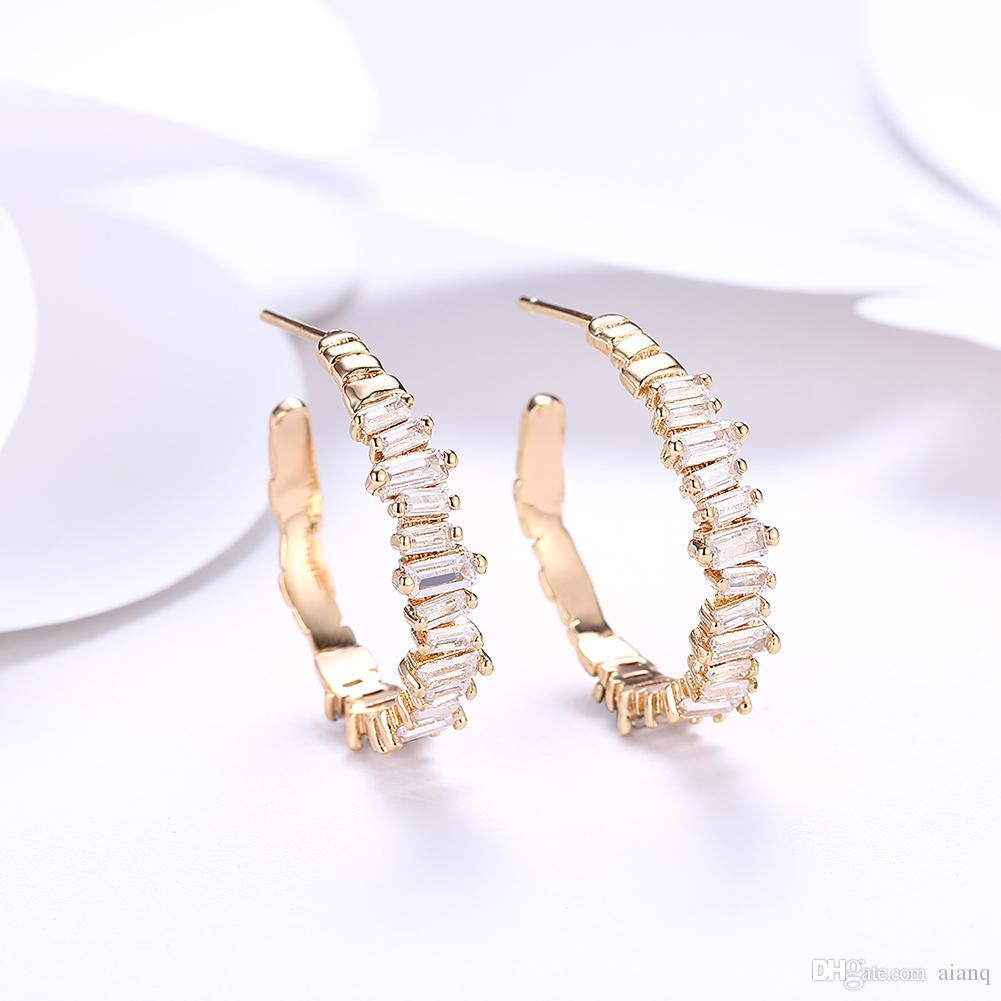 64636c4ac 2019 Fashion Earrings K Gold Zircon Earrings Round Diamond Romantic Earings Champagne  Earrings For Women Designer Jewelry From Aianq, $13.06 | DHgate.Com