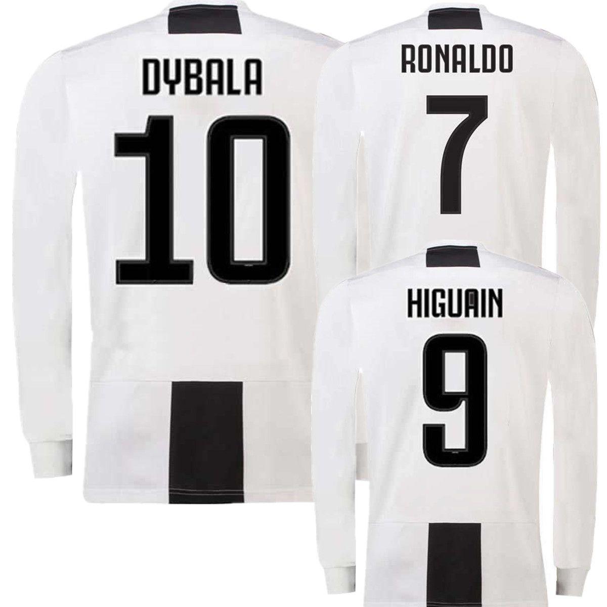9c0269981 Long Sleeve JUVS Home Soccer Jersey 18 19  7 RONALDO  10 DYBALA ...