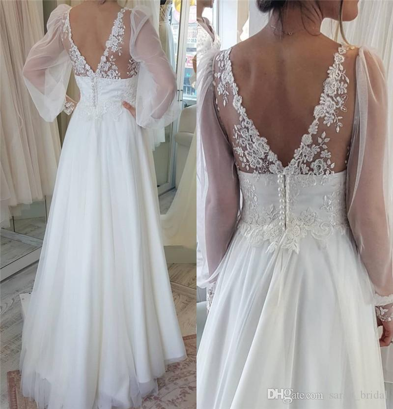 2791e585ef6b Discount Modest Plus Size Boho Beach Wedding Dresses 2018 A Line V Neck  Puff Long Sleeves Vintage Lace Cheap Country Greek Style Bridal Gowns Cheap  Gowns ...