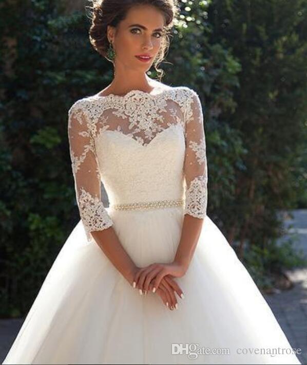 2018 vestidos de novia de encaje vintage tres cuartos mangas largas cuello alto tul vestido de bola vestidos de novia con botones cubiertos