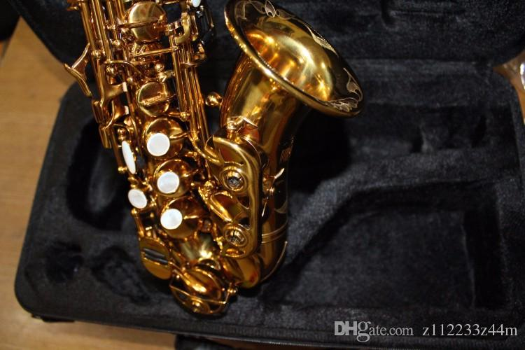 High Quality Brass Exquisite Hand Carved Gold Plated Soprano BB Saxophone B Flat Sax With Case, Mouthpiece