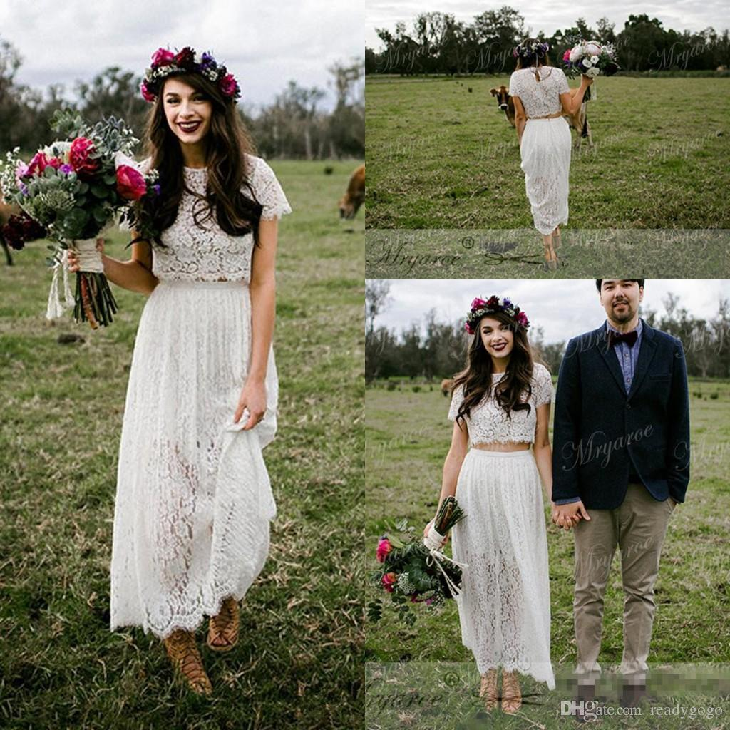 Vintage Retro Lace Two Pieces Short Boho Wedding Dresses with Sleeves 2018 Modest Jewel Tea-length Country Farm A-line Wedding Gowns Cheap