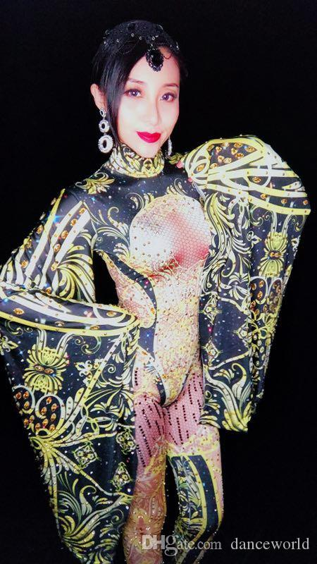 Ds Dj Dress Fashion Black Yellow Jumpsuit Outfit Women Celebrate Rhinestone Costume Female Singer Big Sleeves Bodysuit Performance Wear
